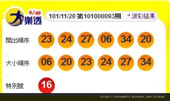 大樂透中獎號碼 第101000093期