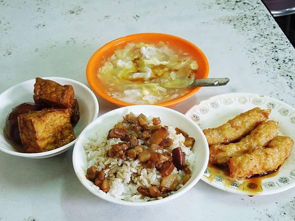 台北,迪化街,金仙蝦捲,滷肉飯、滷蛋、油豆腐、蝦捲、蝦仁羹,90分!