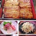台北,肥前屋,鰻魚飯、生魚片、炒蔬菜、鹽烤透抽、蛋捲,90分!
