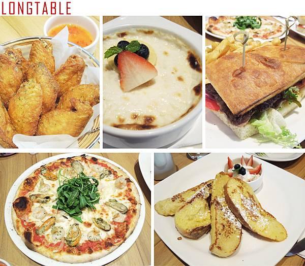 台北,LONGTABLE,炸雞翅、海鮮比薩、起司牛肉三明治、法式吐司、土耳其米布丁,85分。