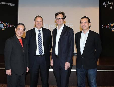 從左至右:台灣奧美集團董事長白崇亮、奧美互動行銷亞太區總裁Jerry Smith、Social@Ogilvy亞太區總監Thomas Crampton、奧美廣告亞太區總裁Chris Reitermann