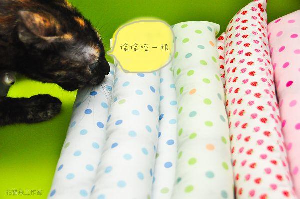 花貓解解手工縫製的貓草踢踢枕(貓超愛)