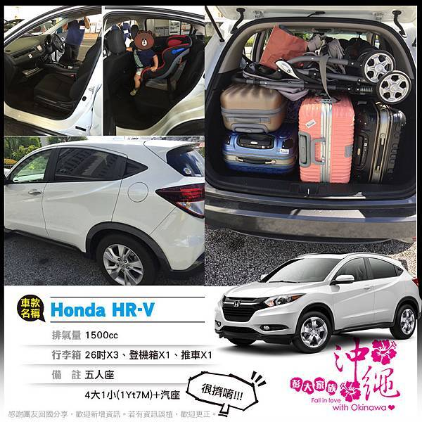 Honda HR-V 五人座 26X3 登機X1 推車X1