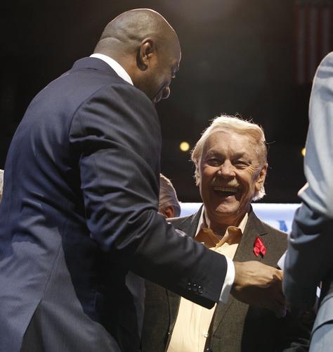2011年Magic退休20週年 Magic Johnson 與 Jerry Buss