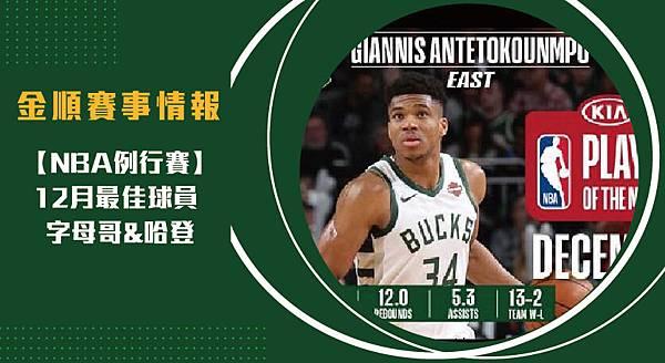 【NBA】12月最佳球員 字母哥_哈登
