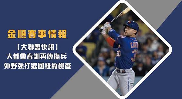 【MLB】大都會春訓再傳傷兵 外野強打返回紐約檢查