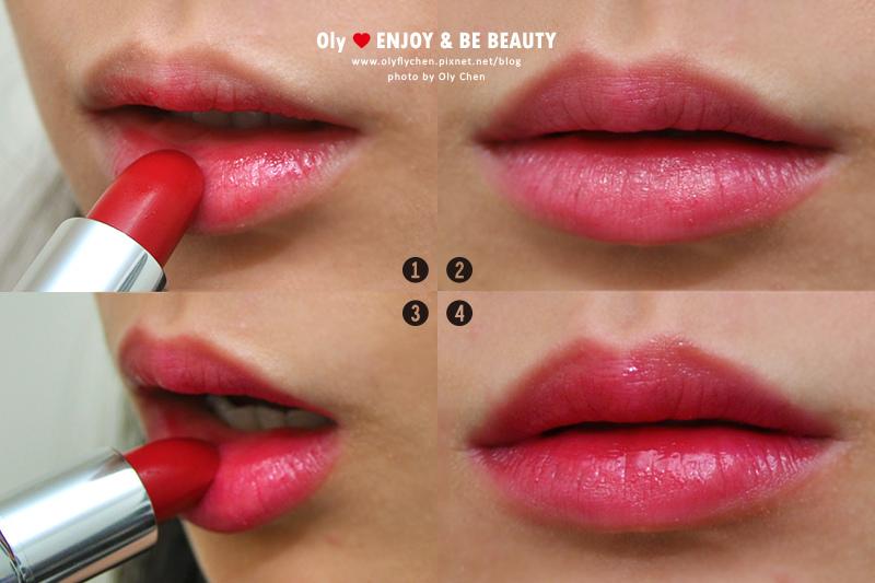 自然微透紅色唇膏x漸層唇妝