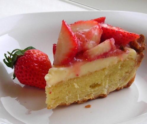 法式草莓塔切片