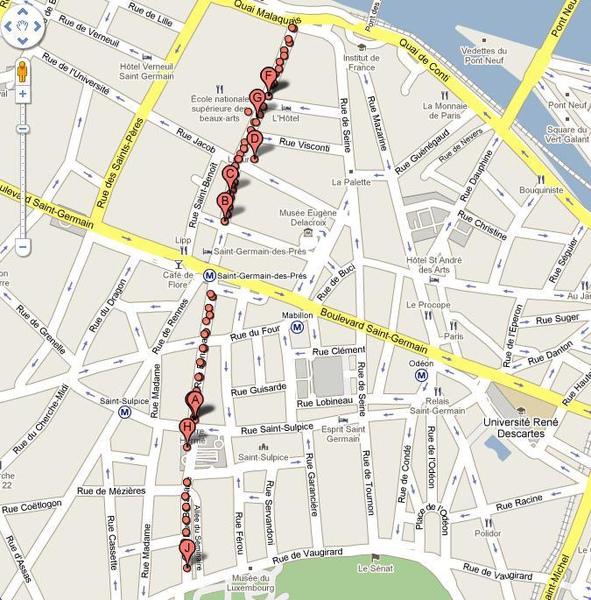 地圖上的Rue Bonaparte