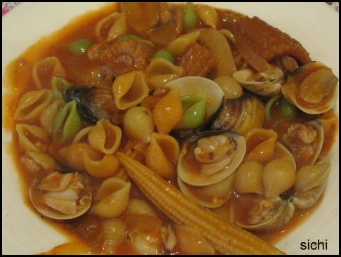 鮮蛤貝殼麵