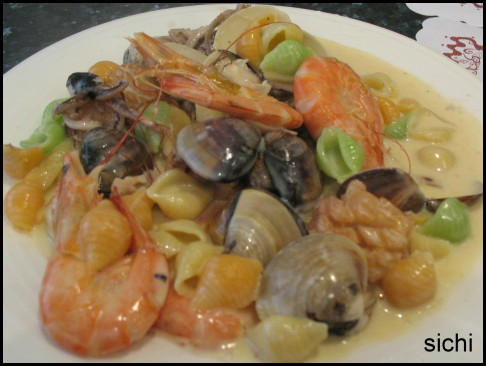 海鮮貝殼麵