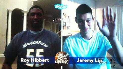 Jeremy Lin and Roy Hibbert in the JKL Skype Scavenger Hunt6