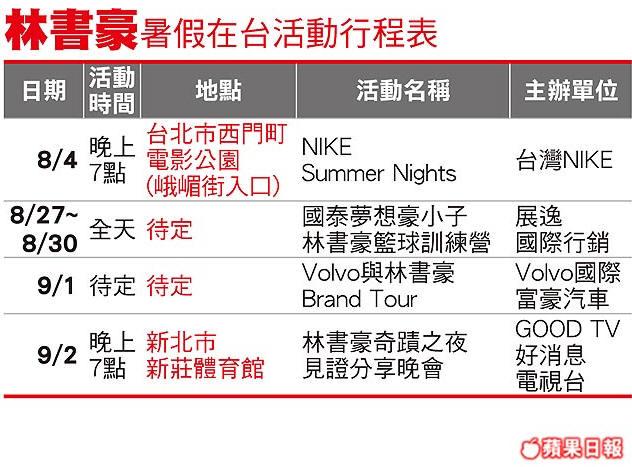 2012林書豪暑假在台灣活動行程表