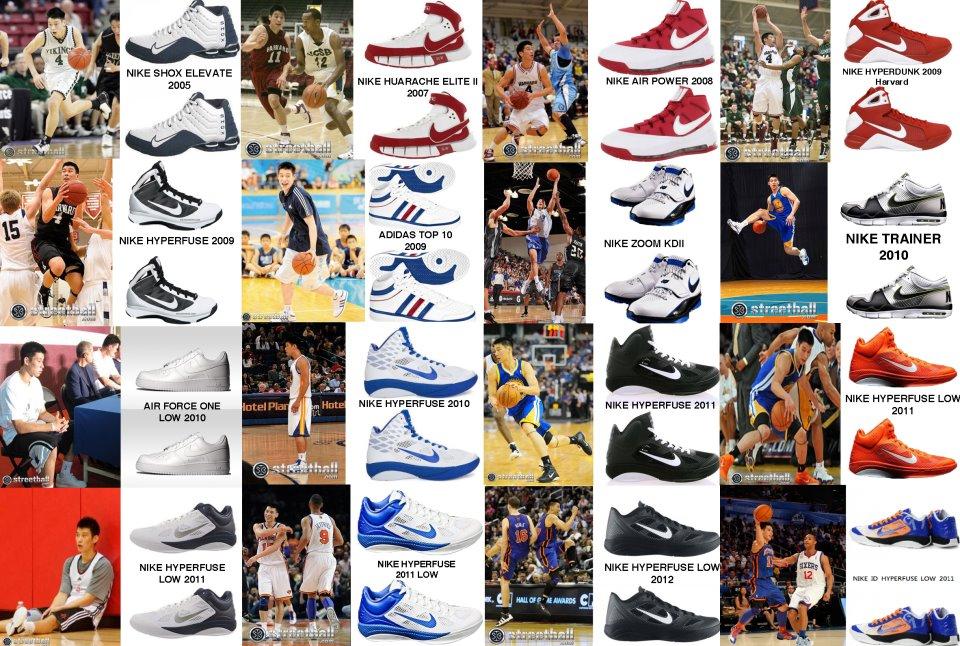 林書豪各時期穿的球鞋