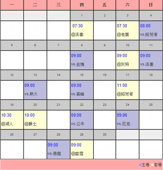 火箭隊11月賽程表