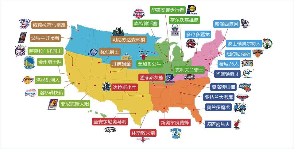 NBA球隊分佈圖