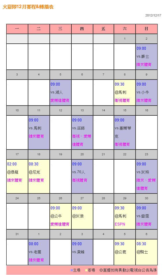火箭隊12月賽程&轉播表