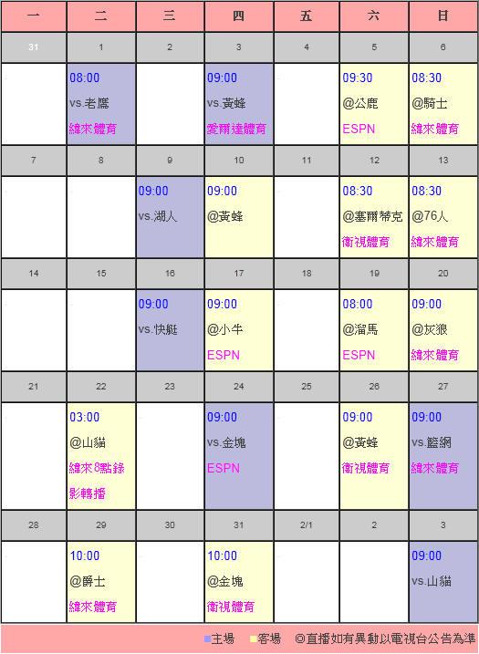 2013.1月轉播表