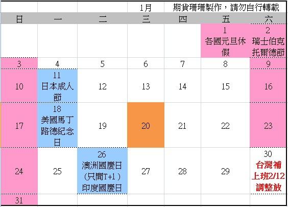 2016全球股市行事曆、105台灣封關日期貨結算日、美國股市交易日_02