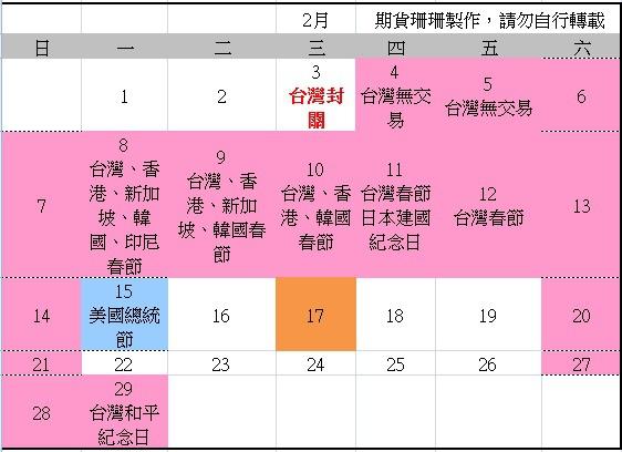 2016全球股市行事曆、105台灣封關日期貨結算日、美國股市交易日_03