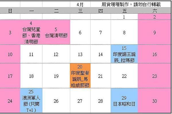 2016全球股市行事曆、105台灣封關日期貨結算日、美國股市交易日_05