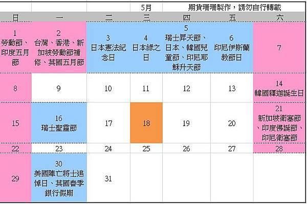 2016全球股市行事曆、105台灣封關日期貨結算日、美國股市交易日_06