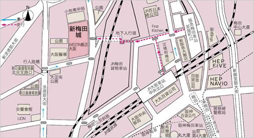 梅田藍天大廈map