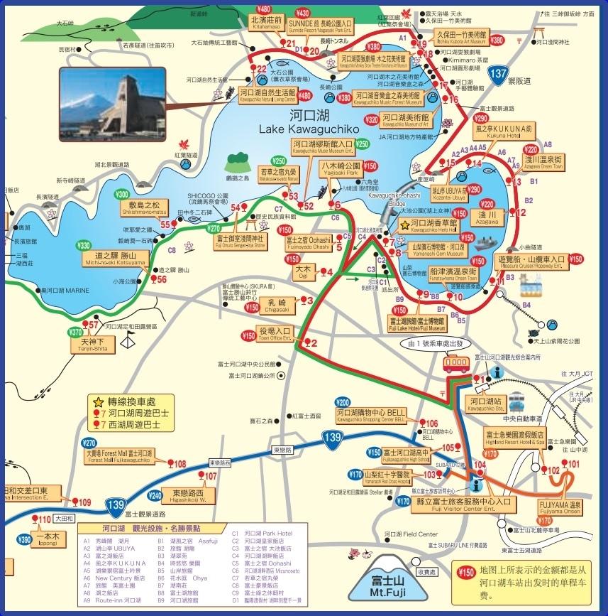 河口湖巴士路線圖