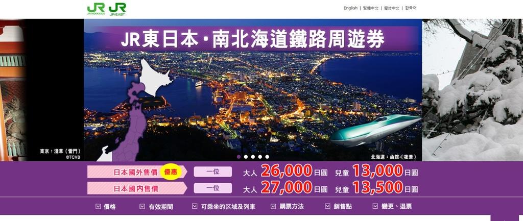 JR東日本南北海道周遊券6天