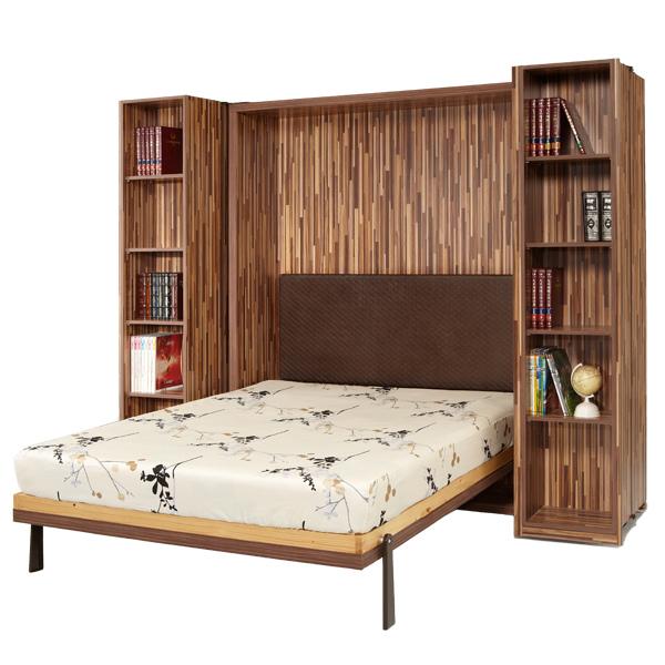 五呎壁床櫃子變床-600