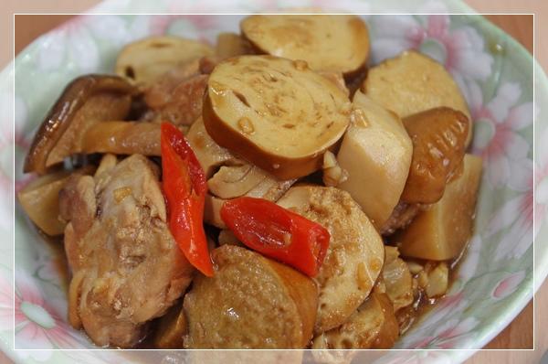 紅燒雞腿、素雞、杏鮑菇