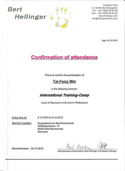 certificate Hellinger 2010.06 - 09