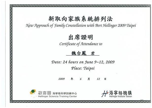 新取向家族系統排列法 June 9~12 2009