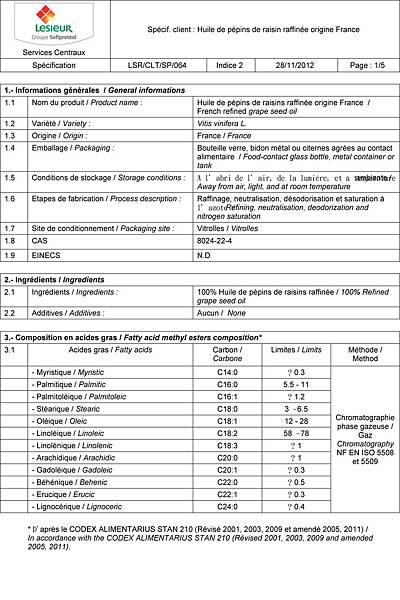 葡萄籽油-脂肪酸檢驗合格