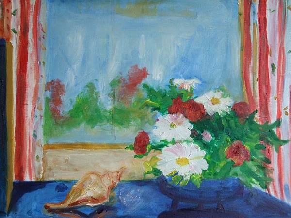 窗邊的盆花
