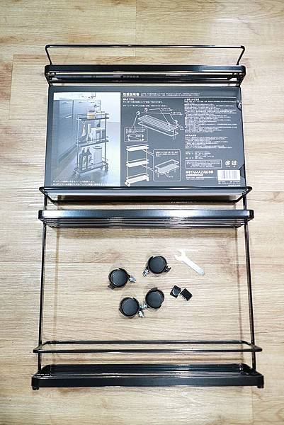 tower三層隙縫萬用小推車(黑) 山崎收納 Yamazaki 廚房收納 調味料 小掛鉤 簡單組裝