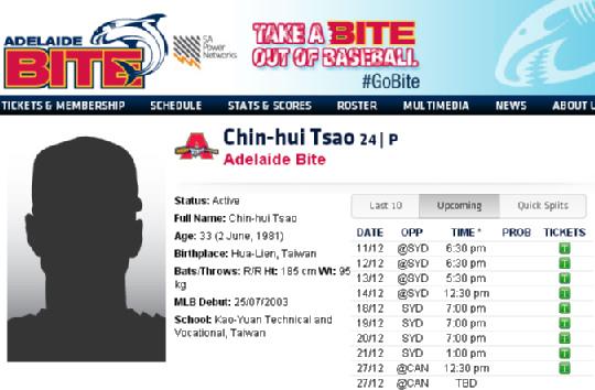 曹錦輝被澳洲職棒登錄