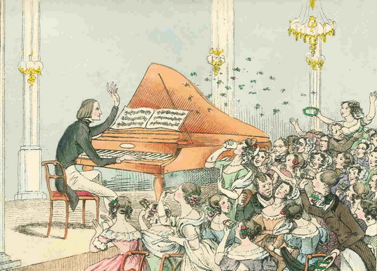 Liszt in the concert salon, 1842_M