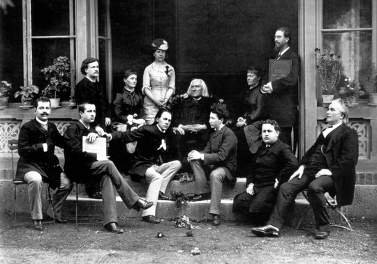 Liszt  with famous students_Weimar_22 Oct 1884_his birthday_S