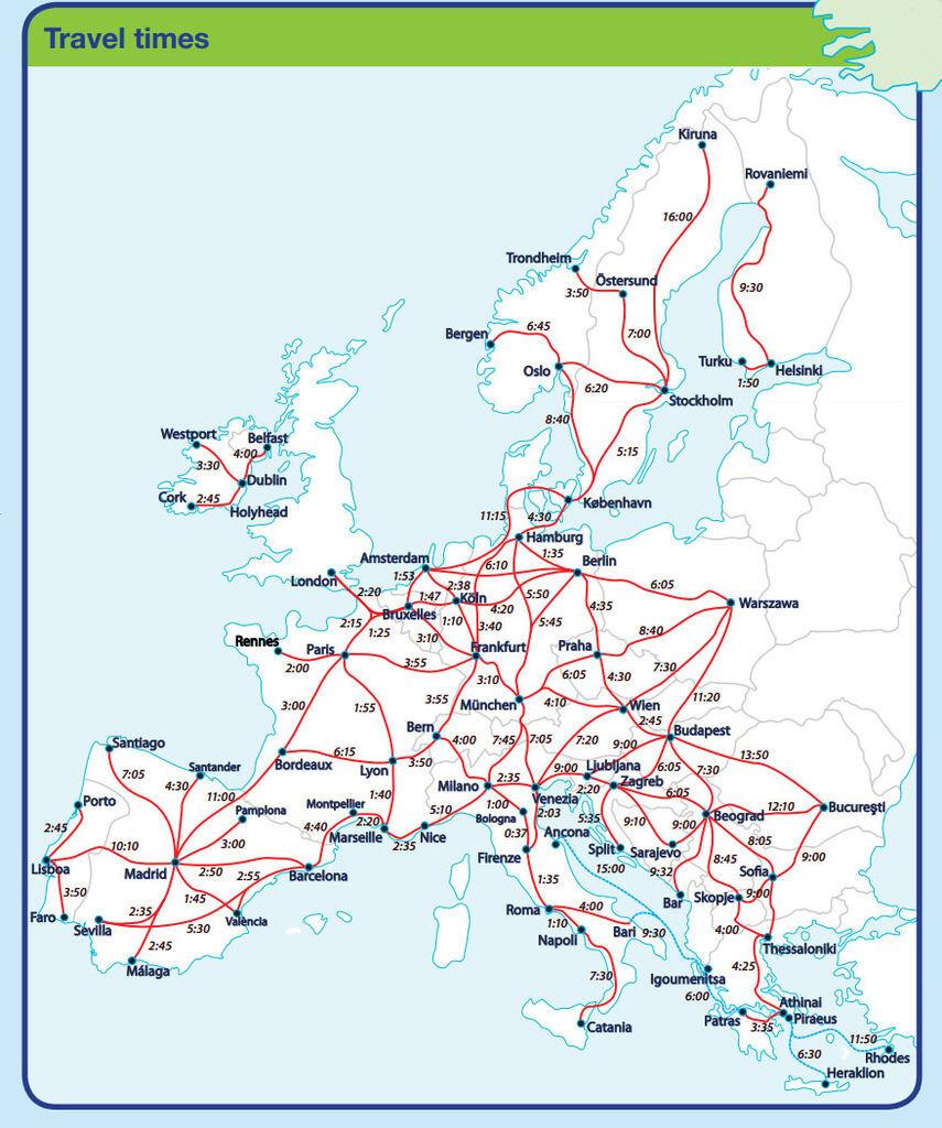歐洲各大主要城市之間,特快車行車時間