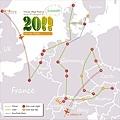 Travel Map Part2上半(這是我2011旅歐的第二階段,6月底到8月底的路線圖)