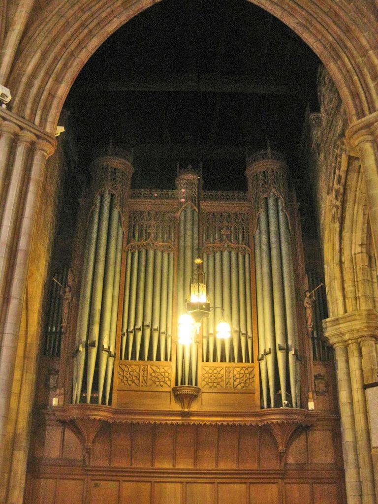 教堂昏黃的光線 朦朧的映照在管風琴上 在莊嚴中又多了點神秘感