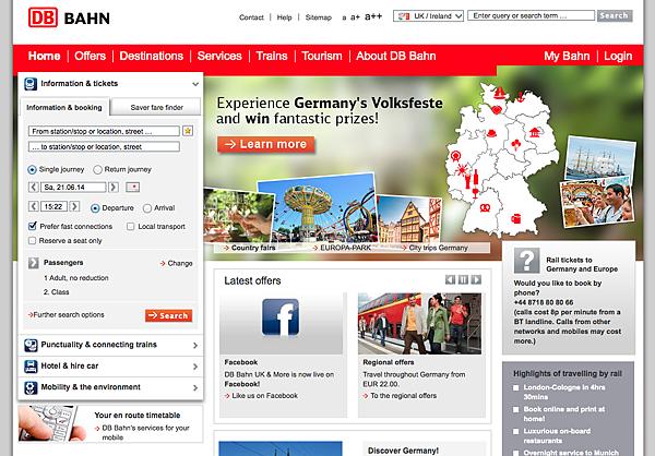 德國DB訂票系統官網(英文版)