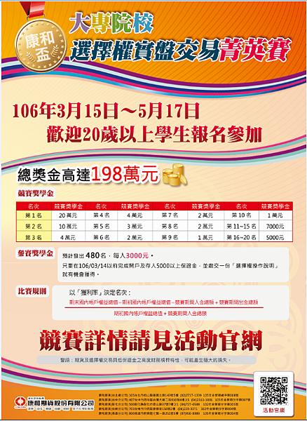 106年度大專院校【康和盃】選擇權實盤交易菁英賽-總獎金高達198萬