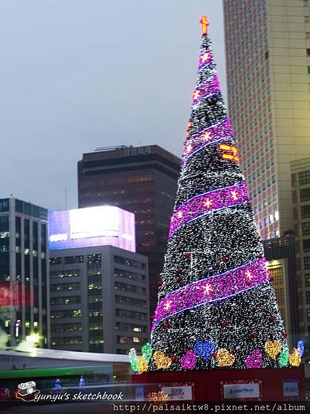 廣場旁的聖誕燈樹