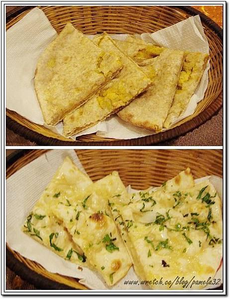 坦都印度餐廳-馬鈴薯烤餅$70+洋蔥烤餅$70