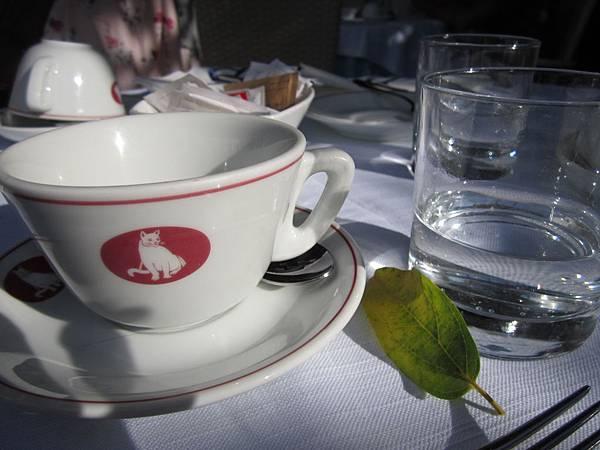 陽光 落葉伴著早餐~ :)
