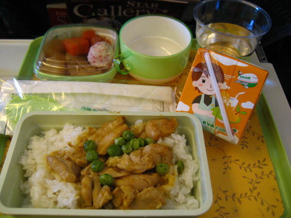 飛機餐是綠色的!自認為是豌豆套餐 :D