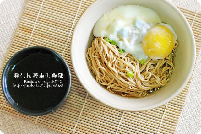 2011.08.11-日式溫泉蛋、(阿舍食堂)辣麻醬台南乾麵、(黑松)Tea Free