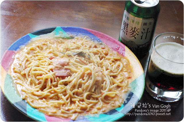 2011.12.21-(pasta99)奶油培根肉醬麵、(荷蘭皇佳)黑麥汁